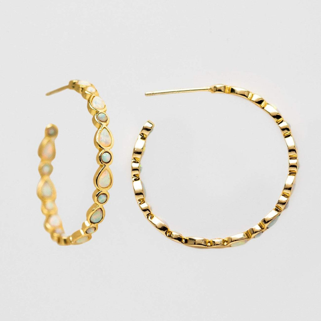 white opal yellow gold isla statement hoop earring melinda maria