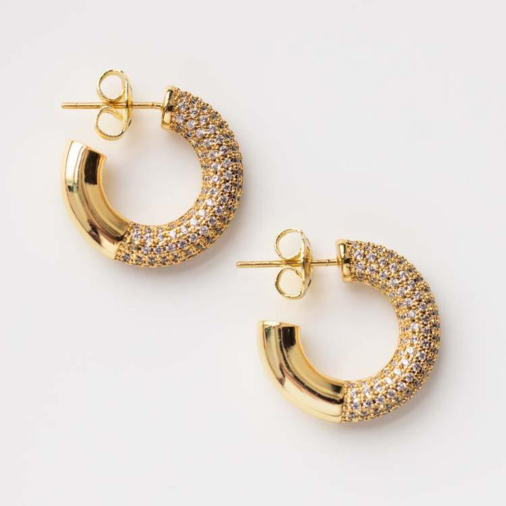 Lia Pave Hoop Earrings chunky yellow gold modern hoops jewelry