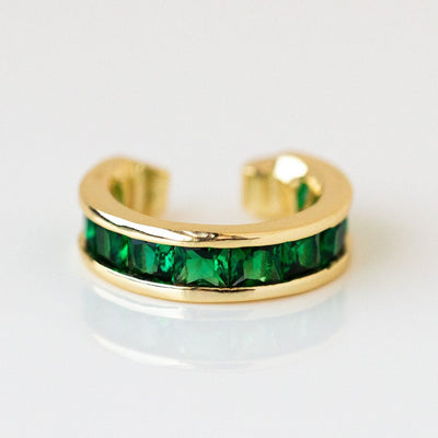Baby Opulence Ear Cuff dainty minimal yellow gold emerald jewelry