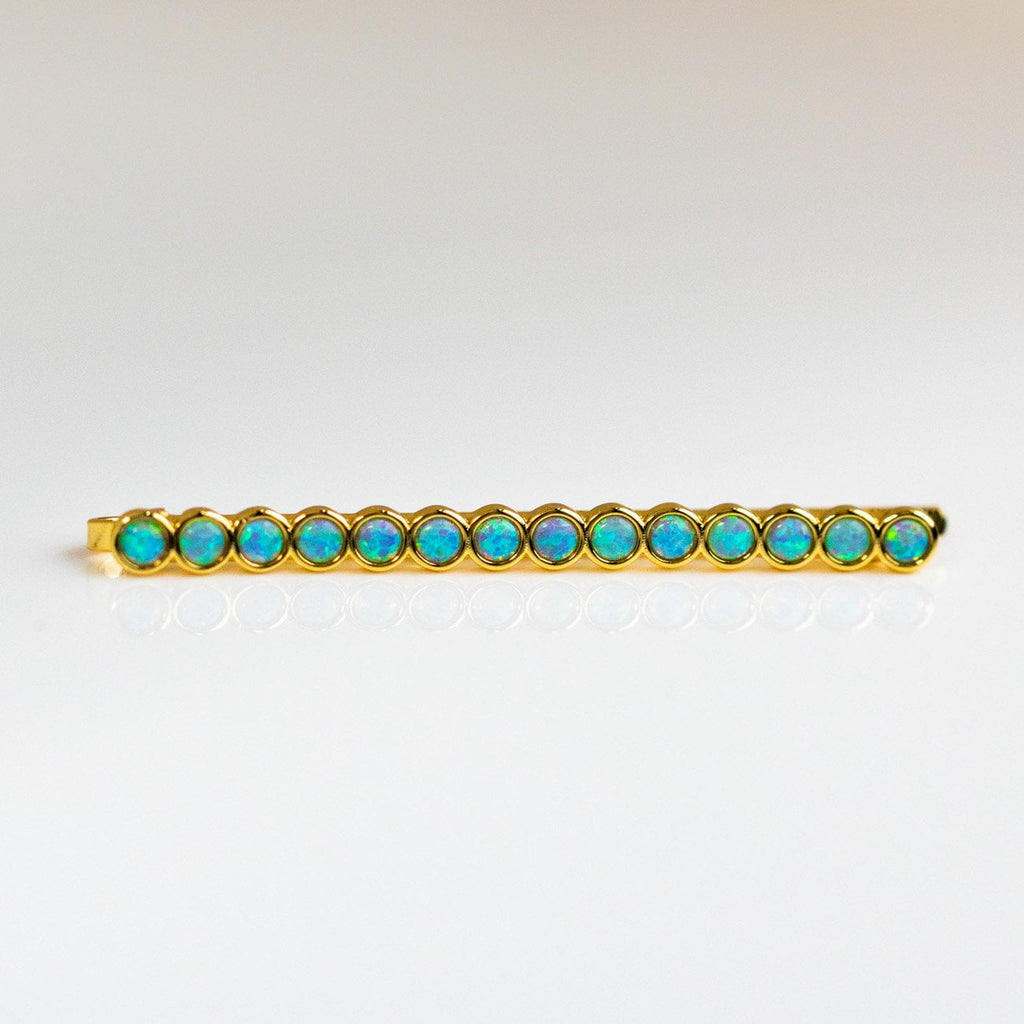 Blue Opal Hair Pin Stack Yellow Gold Jewelry Accessories Melinda Maria