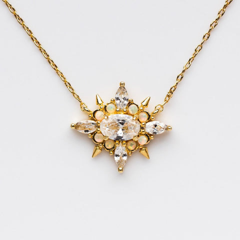 Jackie Necklace in Gold with White Opal & CZ
