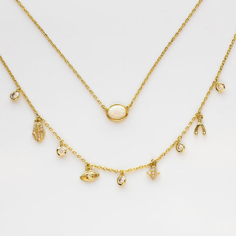 Charm Necklace Delicate Dainty White Opal CZ Yellow Gold Melinda Maria