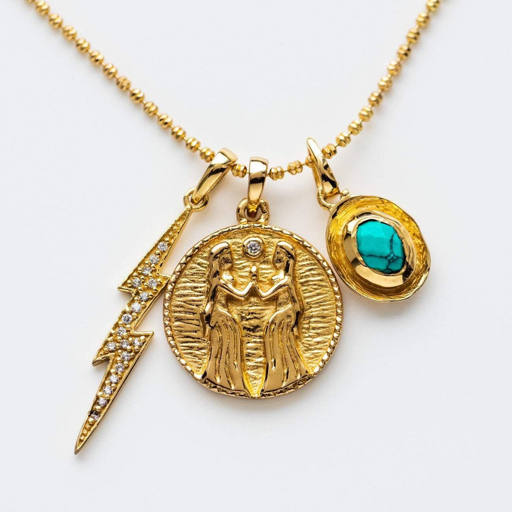 goddess yellow gold statement charm gem necklace pendant