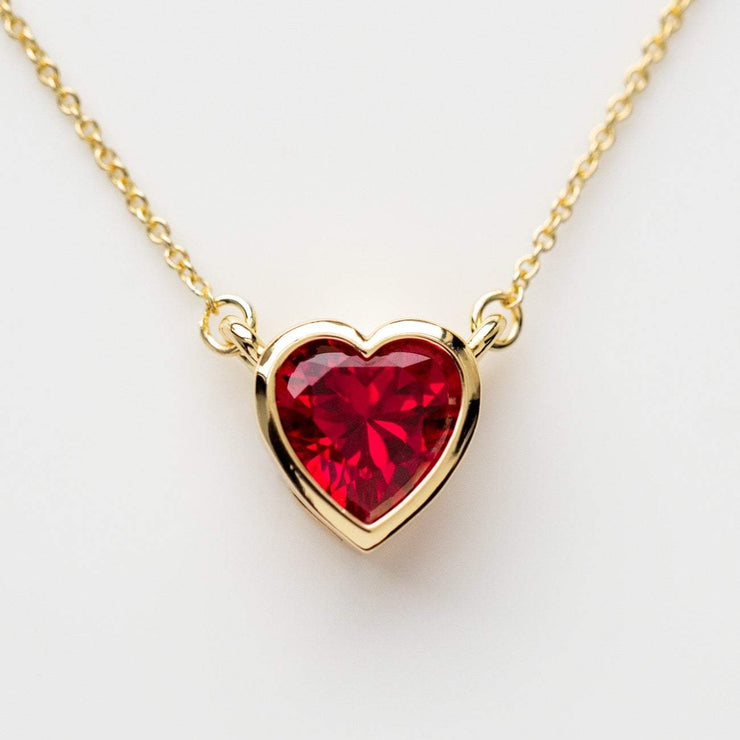 Heart necklace in ruby red heart shaped jewelry yellow gold necklace