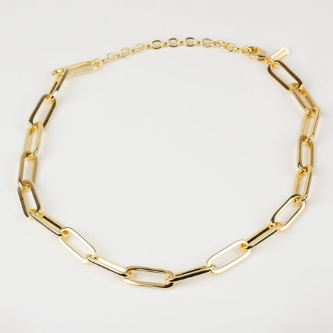 Chain Link Statement Chunky Necklace Yellow Gold Jewelry