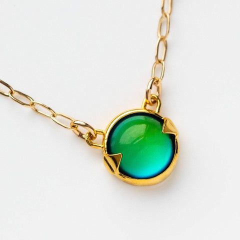 Modern Dainty Yellow Gold Mood Stone Pendant Necklace Merewif