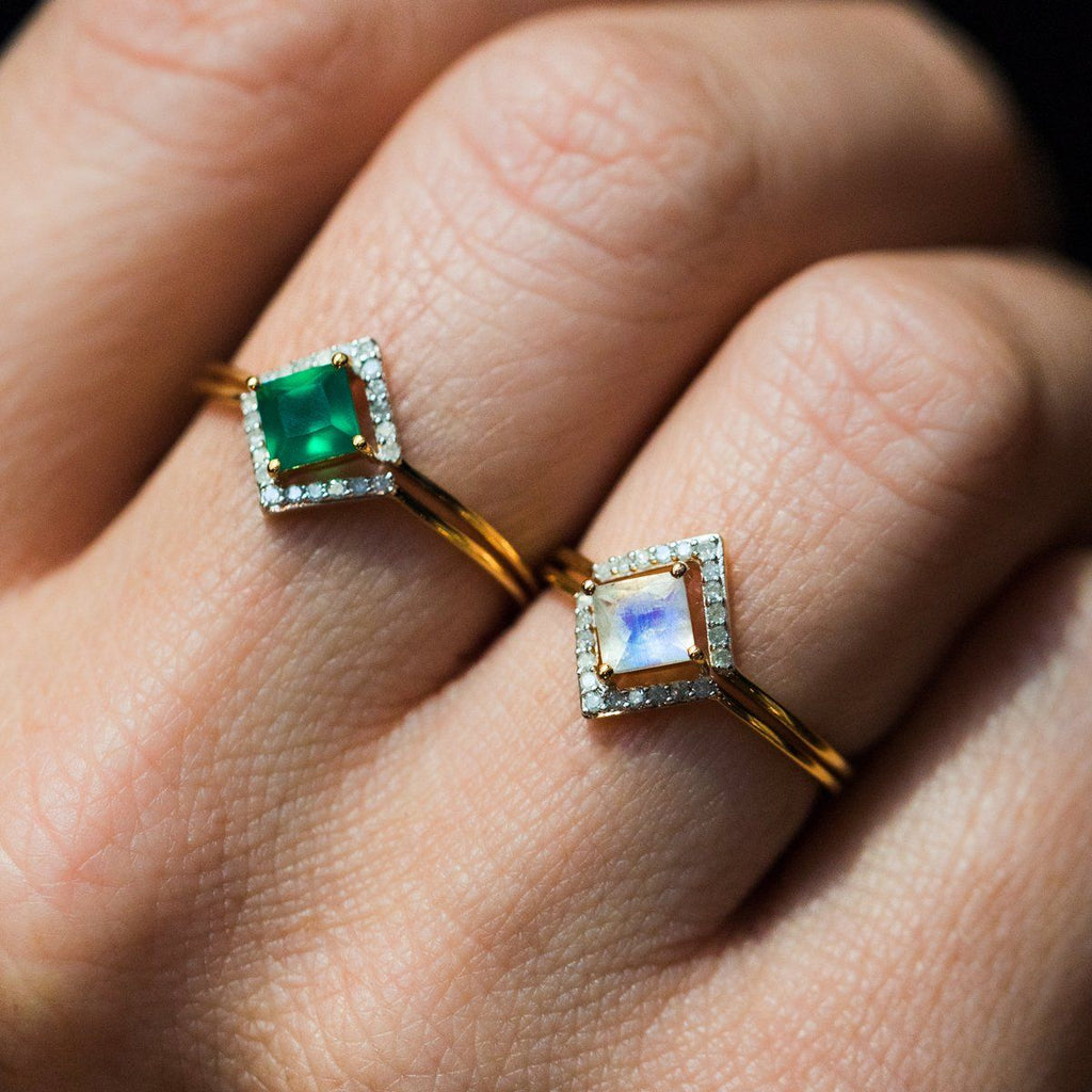 2x Stacking Ring Set Green Onyx with Diamond - rings - Carrie Elizabeth Jewelry local eclectic