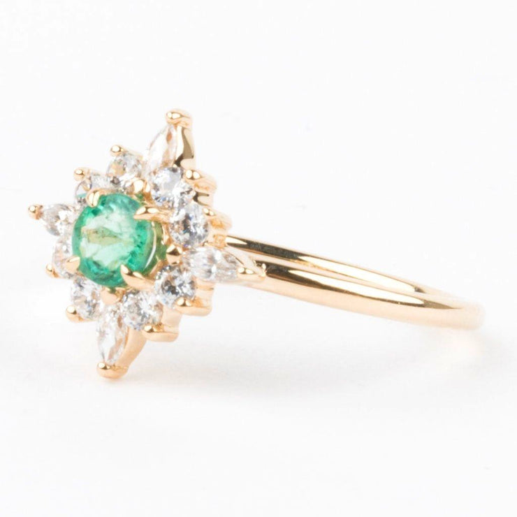 Skylar Ring in 14K Yellow Gold with Emerald & CZ - rings - Emi Conner local eclectic