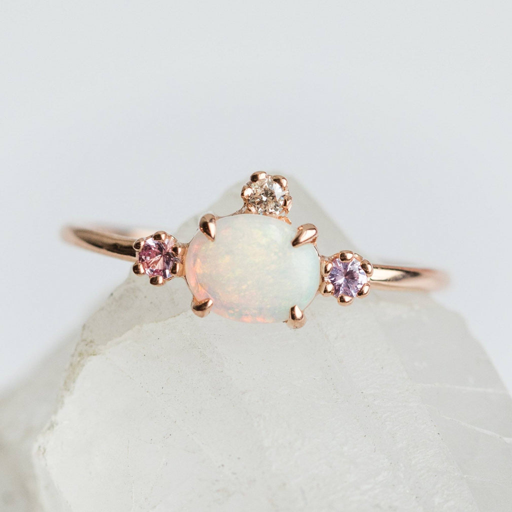 Fairy Princess Ring with Opal, Sapphires & Diamond - rings - Charlie and Marcelle local eclectic