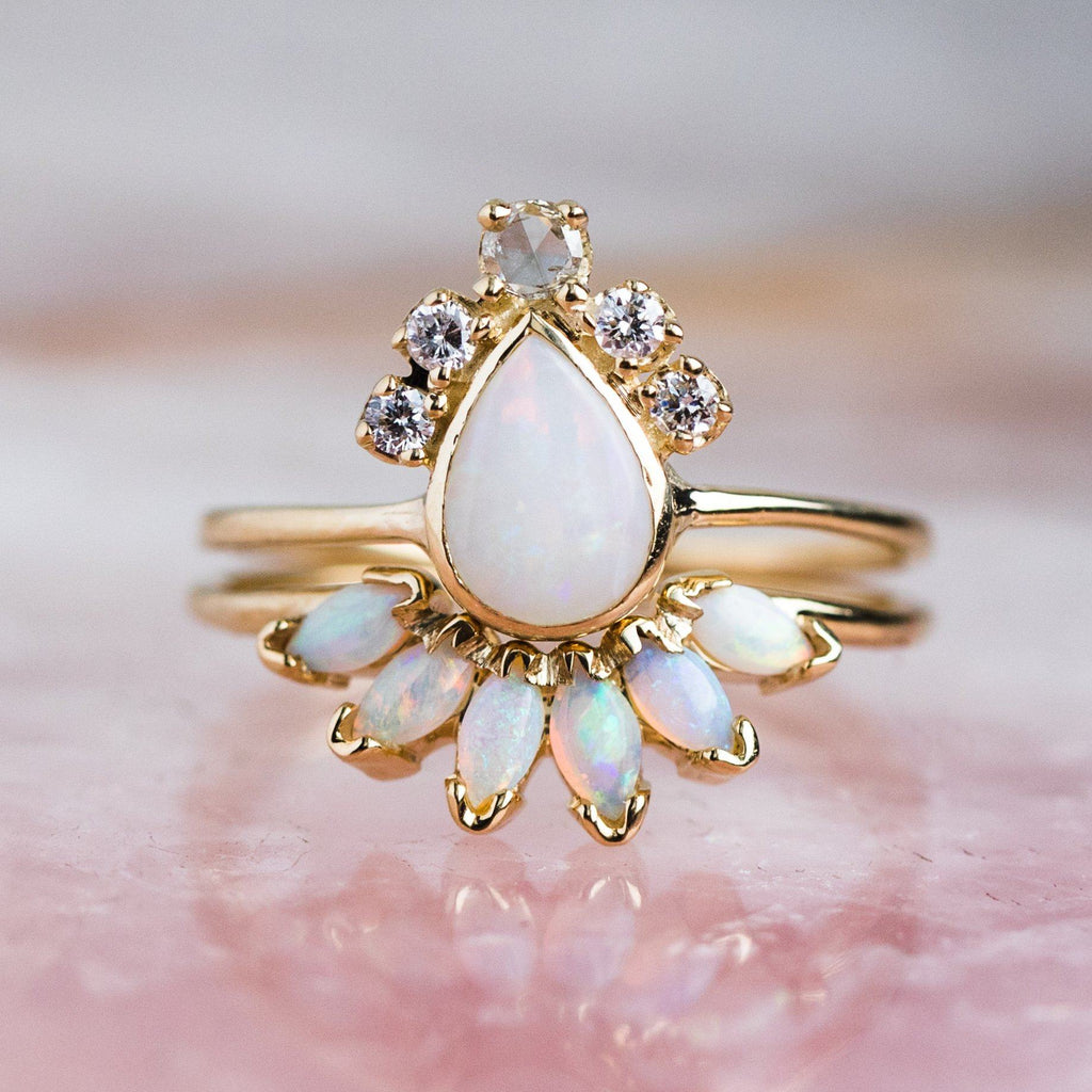 Pear Opal Crown Ring - rings - Charlie and Marcelle local eclectic