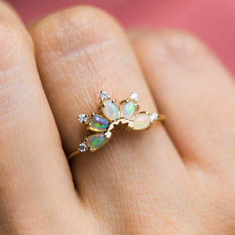 14K Gold Diamond & Opal Parisian Butterfly Ring - rings - La Kaiser local eclectic