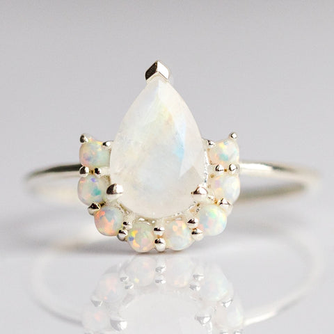 Opal & Moonstone Ballerina Ring in Silver - rings - La Kaiser local eclectic