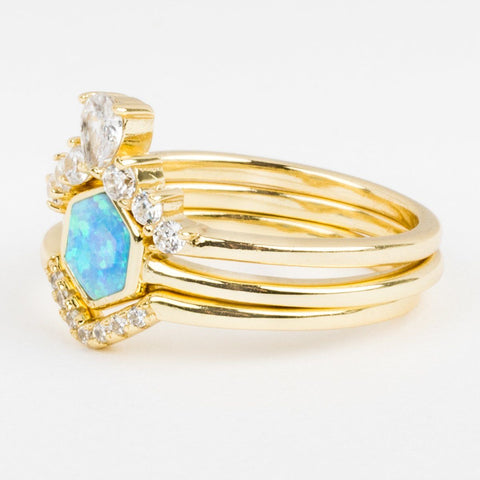 Hexagon Stacking Ring Set in Gold with Blue Opal - rings - Melinda Maria local eclectic