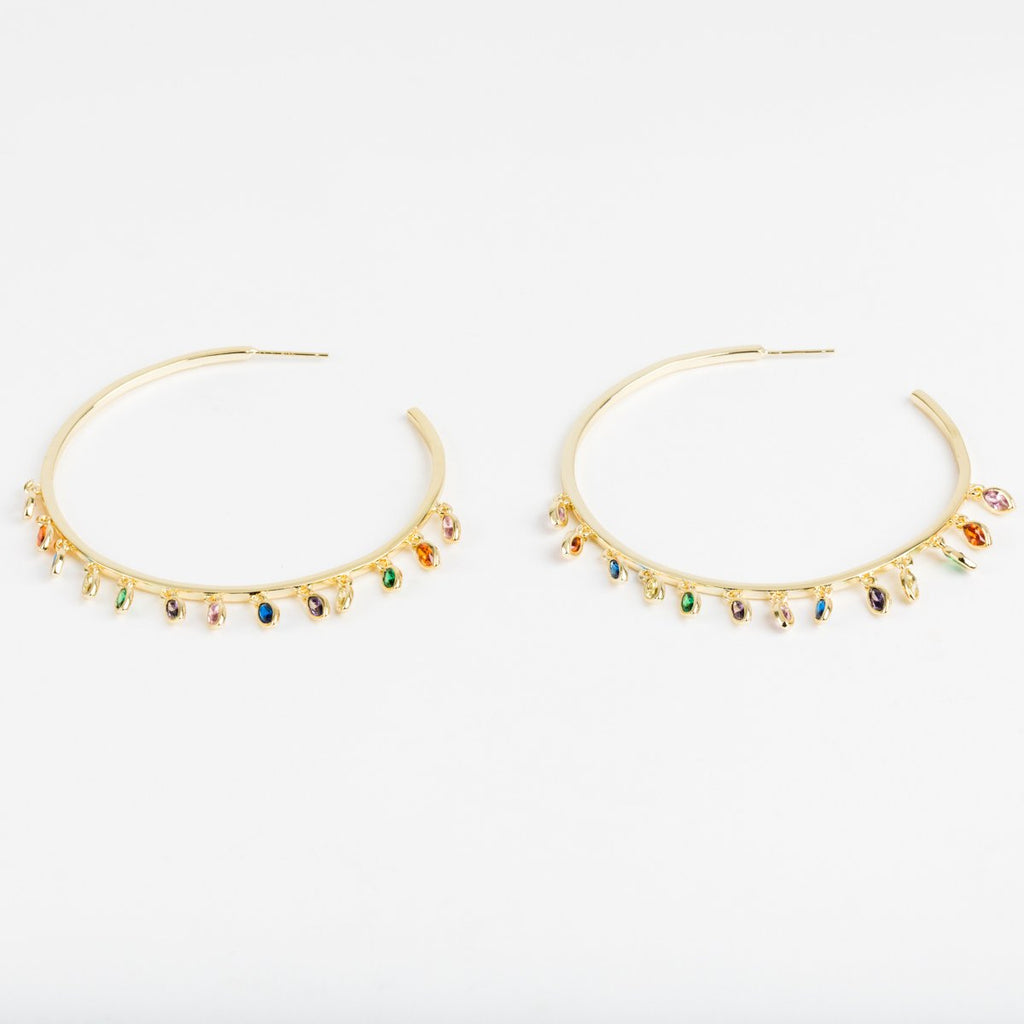 Large Marquise Gold & Rainbow CZ Shaker Hoops - earrings - Melinda Maria local eclectic