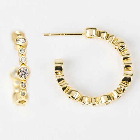 Allison Hoops in Gold with White CZ - earrings - Melinda Maria local eclectic