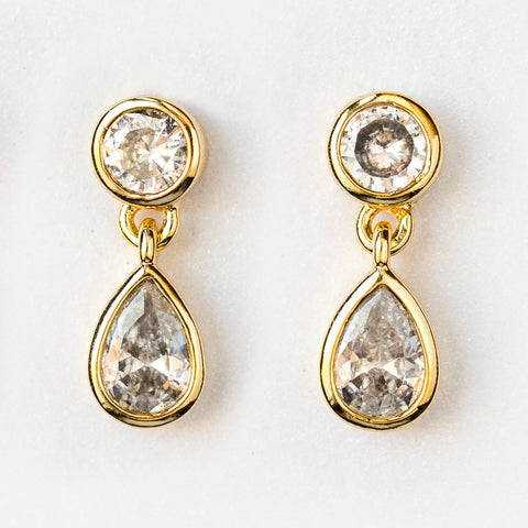 Lauren Studs in Gold with White CZ - earrings - Melinda Maria local eclectic