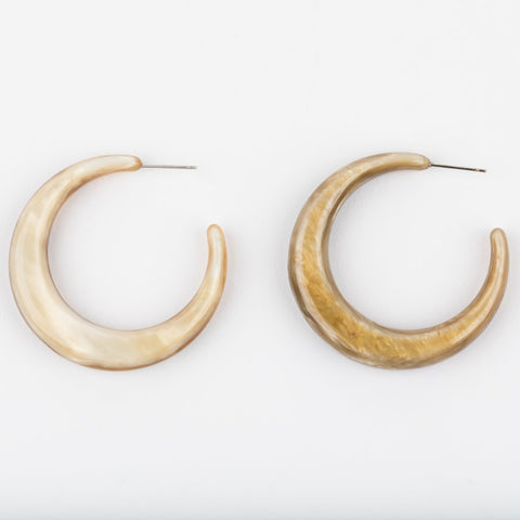 Horn Moonstone Hoop Earrings - earrings - Amber Sceats local eclectic