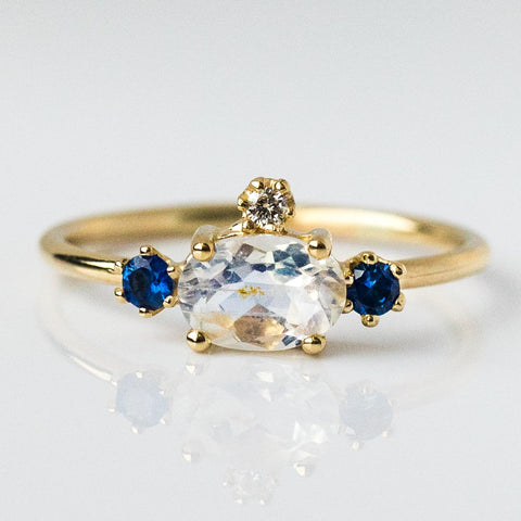 Fairy Princess Ring with Moonstone, Sapphires & Diamonds - rings - Charlie and Marcelle local eclectic