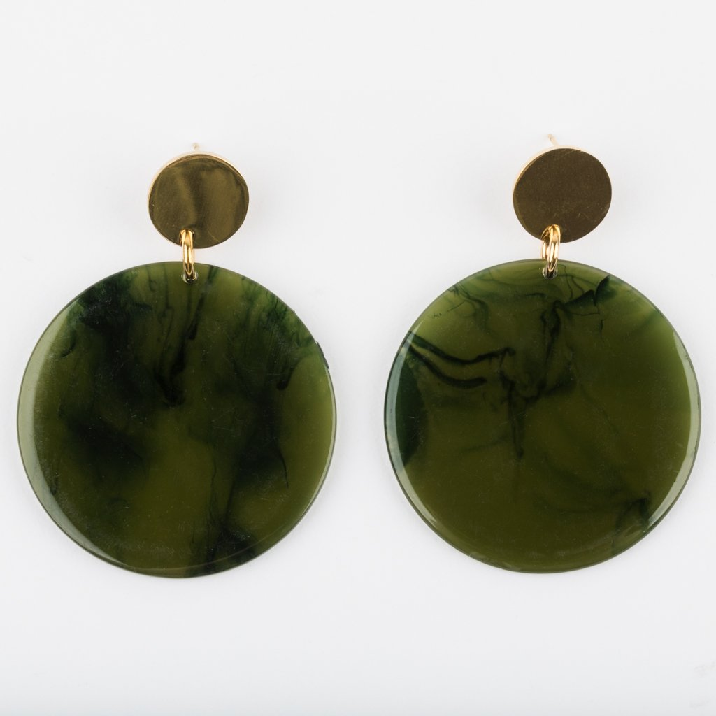 Laguna Earrings in Olive Swirl with Gold - earrings - Amber Sceats local eclectic