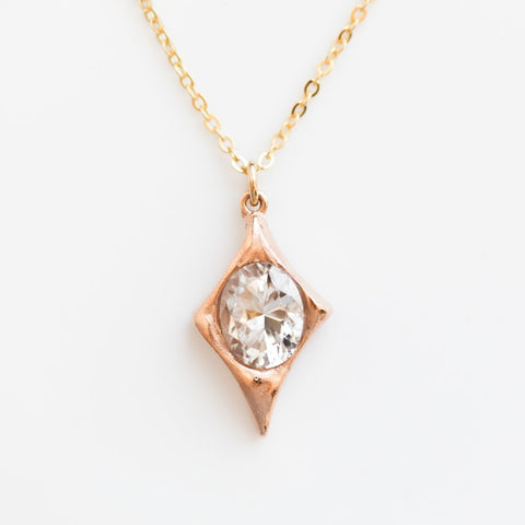 Rose Gold Diamond Shaped CZ Necklace - necklaces - Robin Haley Jewelry local eclectic