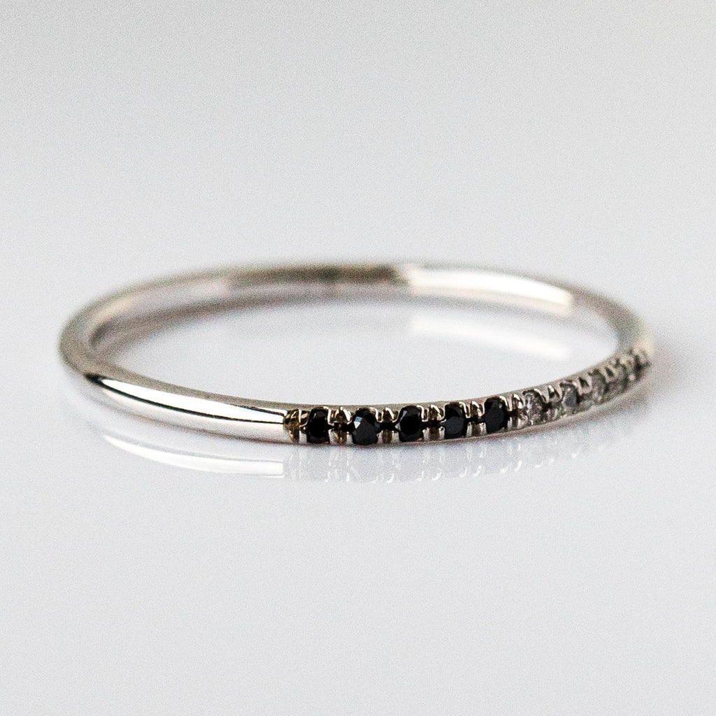 14K Half Black Half White Diamond Band in White Gold - rings - Liesel Love local eclectic