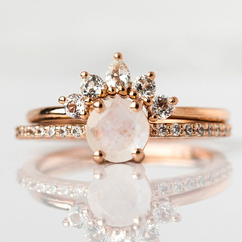 Rose Gold Rainbow Moonstone & Topaz Dancing Fairy Ring Stack - rings - La Kaiser local eclectic