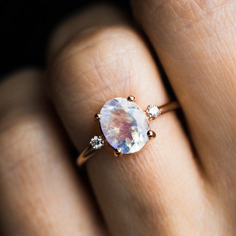 Rainbow Moonstone Ring with Diamonds - rings - Charlie and Marcelle local eclectic