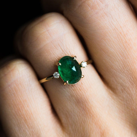 Oval Emerald Ring with Diamonds in Yellow Gold - rings - Charlie and Marcelle local eclectic