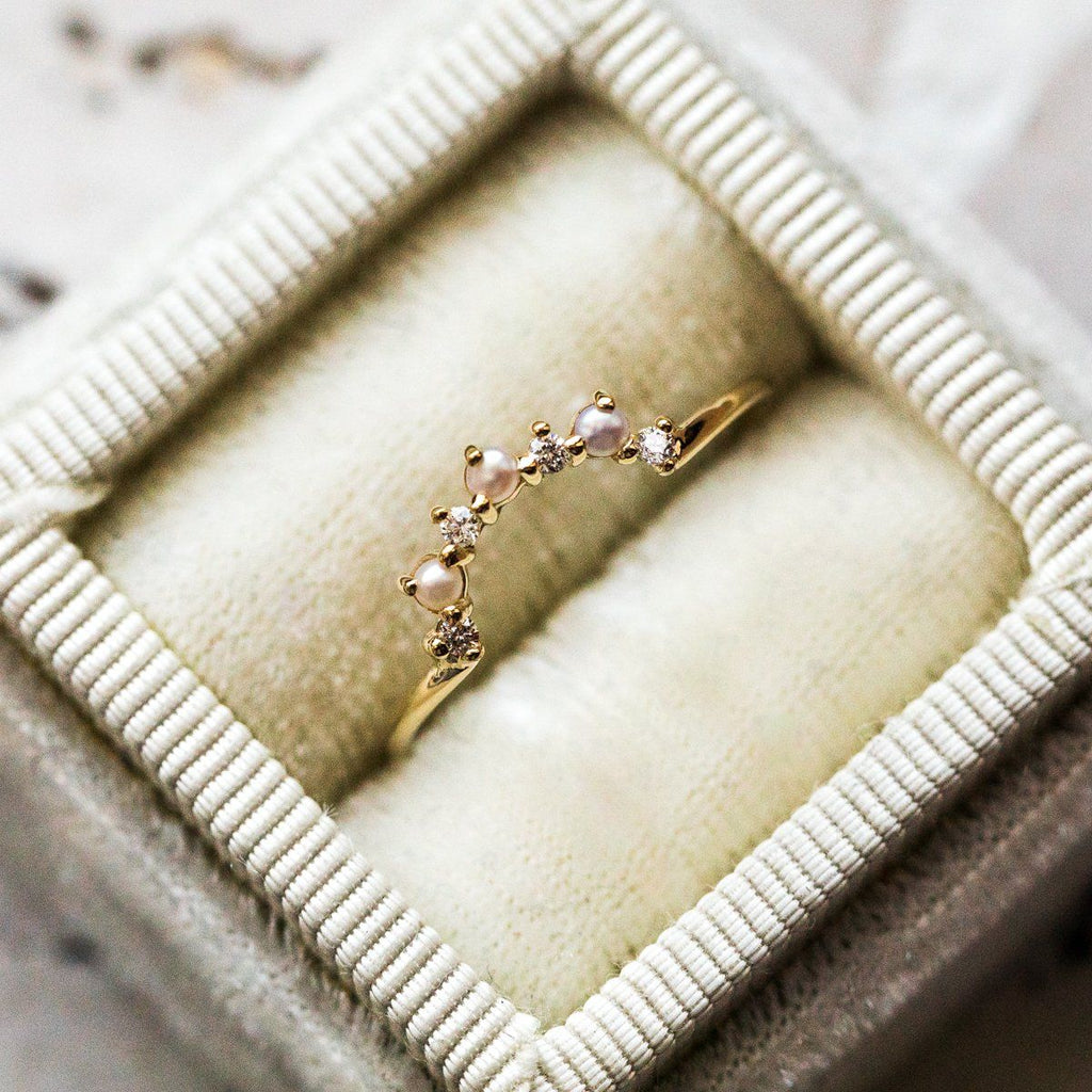 Sunrise Ring with Pearls and Diamonds - rings - Charlie and Marcelle local eclectic