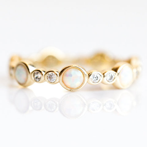 Liz Stacking Ring Gold CZ & White Opal - rings - Melinda Maria local eclectic