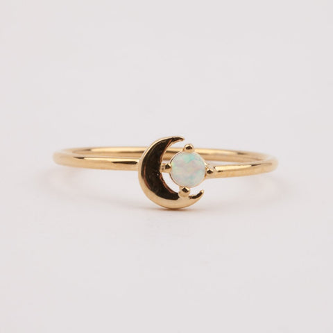 Opal Lucy Crescent Moon Ring - rings - Five and Two local eclectic