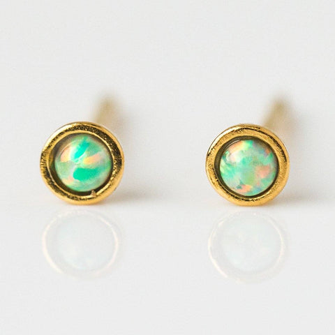 Circle Opal Dot Earrings - earrings - Tai Jewelry local eclectic