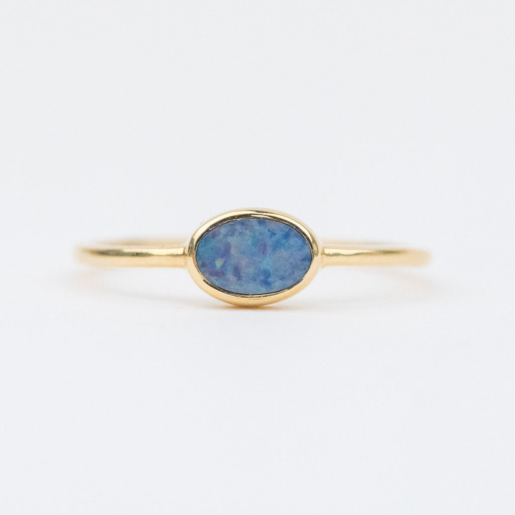 Galactic Stacking Ring Set with Opal & Moonstone - rings - Carrie Elizabeth Jewelry local eclectic