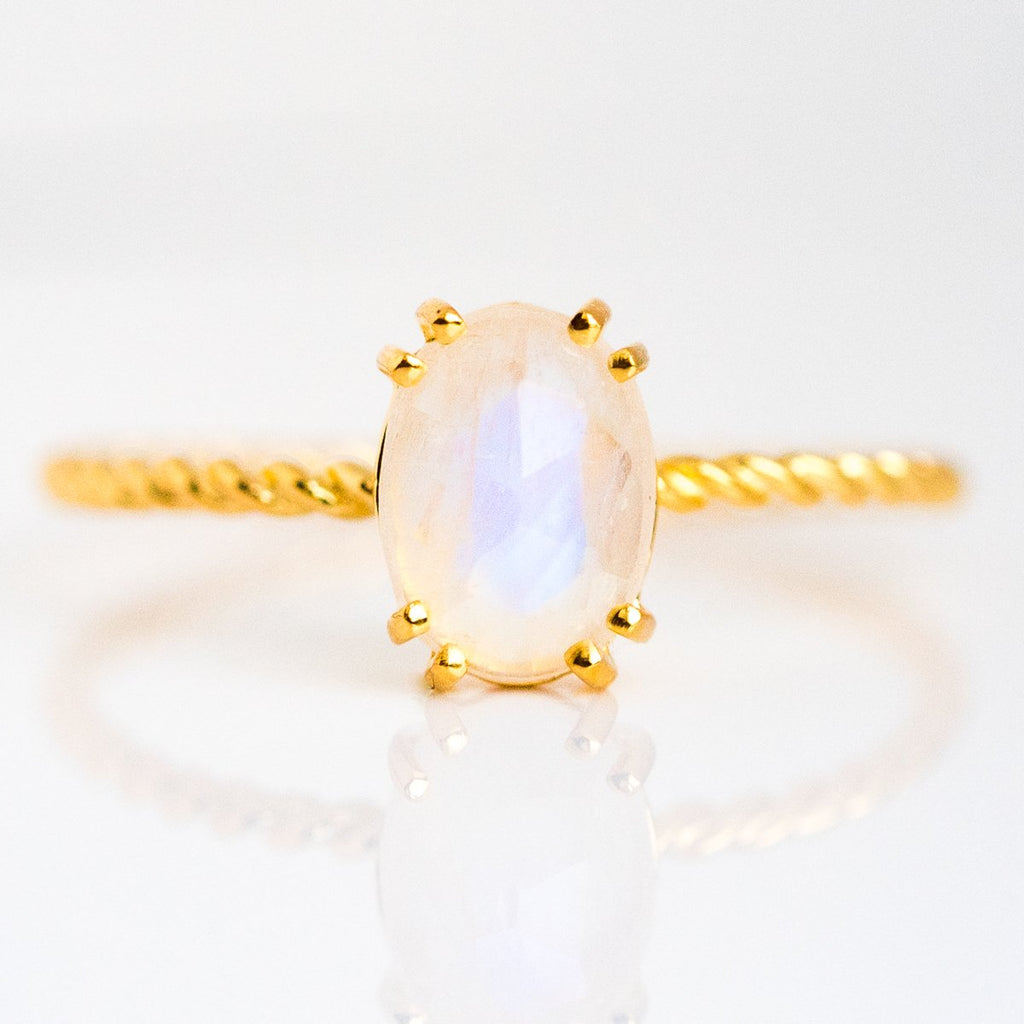 Simple Moonstone Semi Precious Ring with Twisted Band - rings - Carrie Elizabeth Jewelry local eclectic