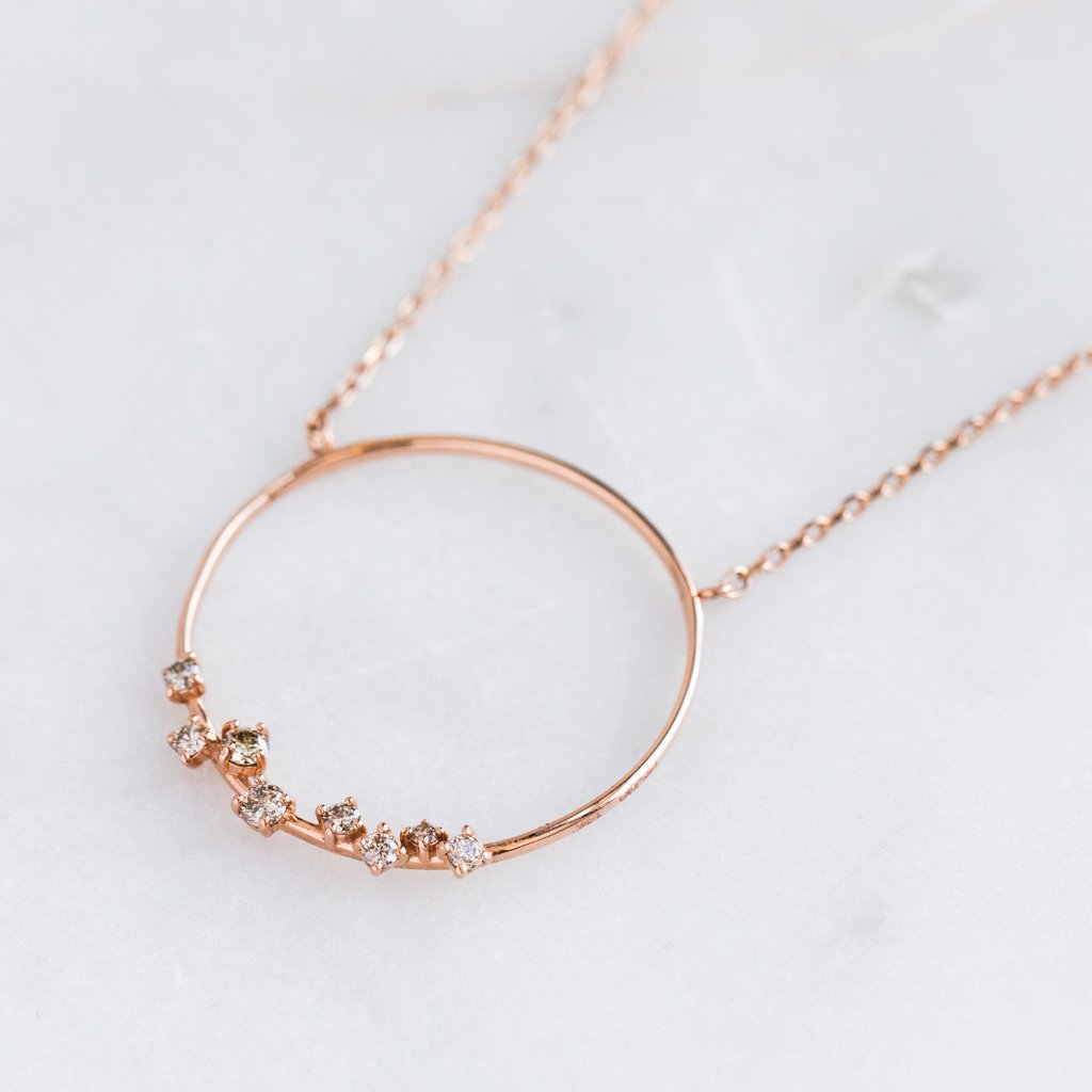 "14K Rose Gold 16"" Cognac Diamond Circle Necklace - necklaces - Nicha Jewelry local eclectic"