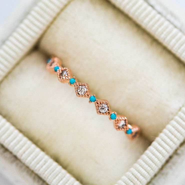 Turquoise & Diamond Belz Ring - rings - Girls Crew local eclectic