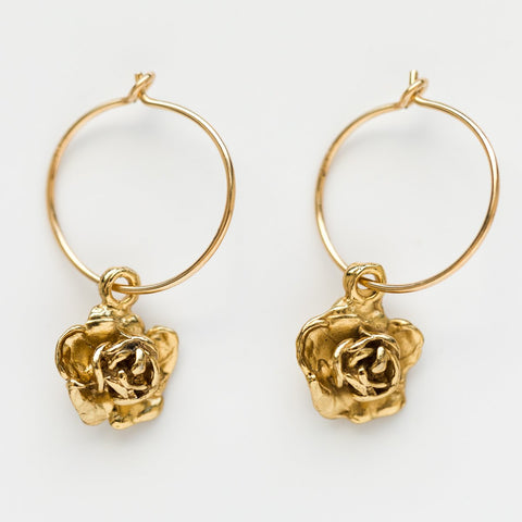 Mini Wire Rose Hoops in Yellow Gold - earrings - Girls Crew local eclectic