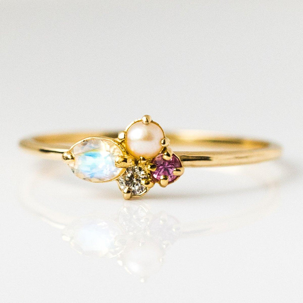 Mini Cluster Ring with Diamond, Moonstone, Sapphire & Pearl - rings - Melanie Casey local eclectic