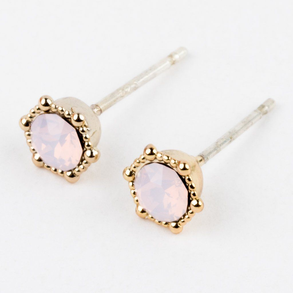 Astrid Stud Earrings in Pink Opal - earrings - Lover's Tempo local eclectic