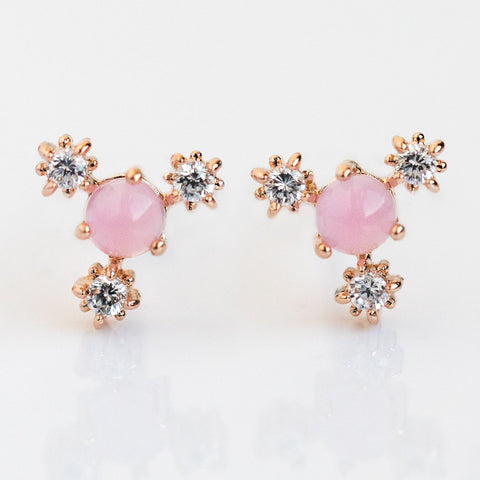 Baby's Breath Pink Flower Stud Earrings - earrings - Girls Crew local eclectic