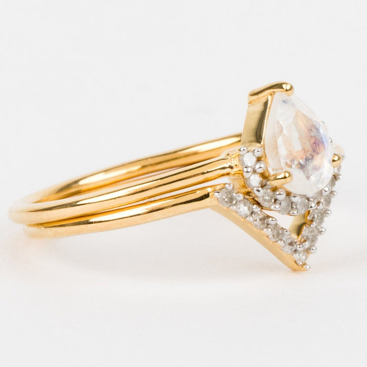 Moonstone & Diamond Angel Stacking Ring Set - rings - Carrie Elizabeth Jewelry local eclectic