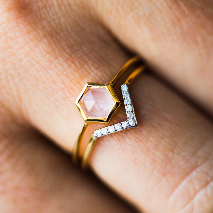 Rose Quartz Hexagon & Diamond V Stacking Set - rings - Carrie Elizabeth Jewelry local eclectic