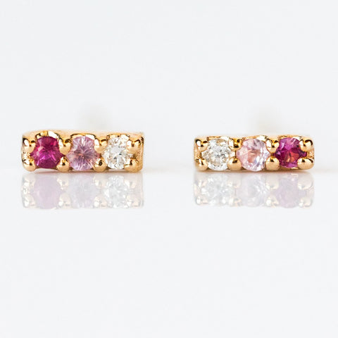 Pink Sapphire Ombre Stud Earrings - earrings - LUMO local eclectic