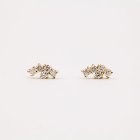 Diamond Cluster Stud Earrings - earrings - LUMO local eclectic