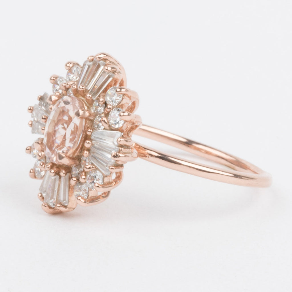 Morganite Cocktail Ring Vintage Style Victorian Romantic Cluster Ring
