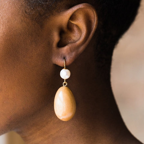 The Pearl Egg Earrings - earrings - Sophie Monet Jewelry local eclectic