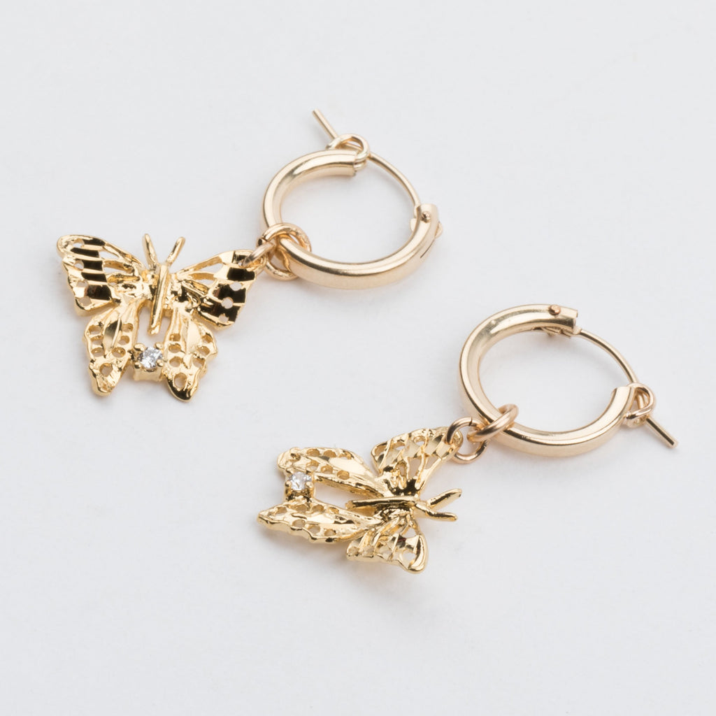 Butterfly Hoop Earrings - earrings - Yunis K local eclectic