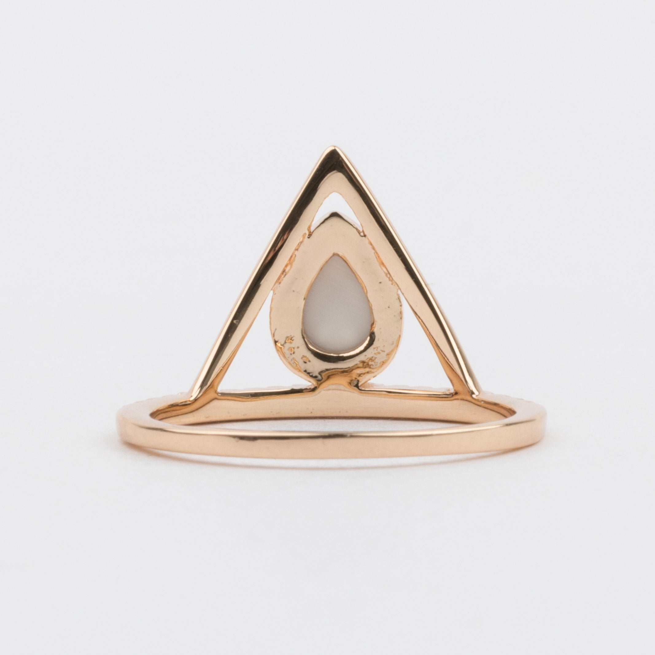 Pave Triangle Ring with White Opal