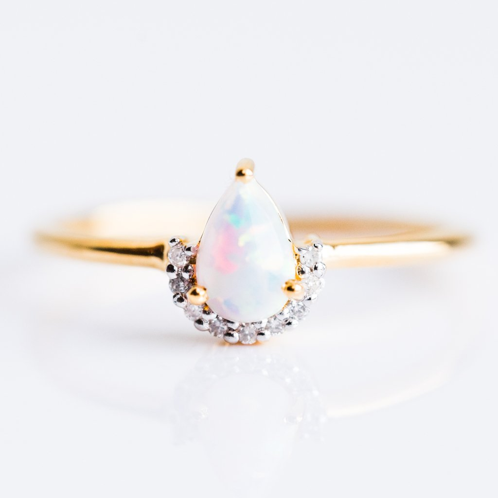 Opal & Diamond Angel LE Exclusive Ring Set - rings - Carrie Elizabeth Jewelry local eclectic