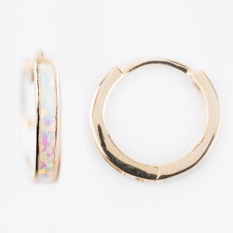 2mm Mini Opal Hoop Earrings - earrings - Amarilo Jewelry local eclectic
